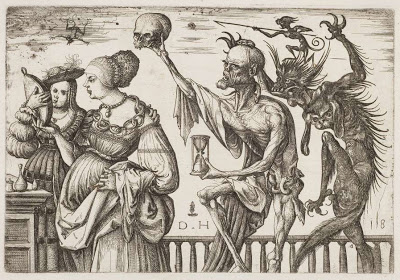 Death and the Devil Surprising Two Women (c1500-10) by Daniel Hopker. Did the Devil really jump out and surprise the girls in the wood?  After a while I stopped caring.