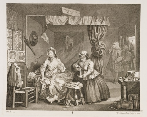 Hogarth charts the rise and fall of a 18th century prostitute in a series of famous illustrations called - A Harlot's Progress.