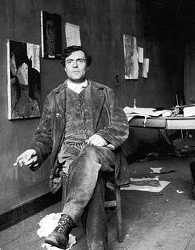 Amedeo Modigliani painted in Paris in the 1900s, he dies young and his work did not begin to sell well until after his death.  The fact that some great artist only sell work after they've died is a theme explored by the book.