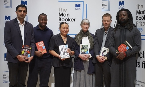 "The authors shortlisted for the 2015 Man Booker prize.  (""Smile!"" - they don't look very happy to have been nominated do they?  Must be their artistic temperaments!)"