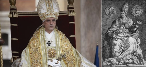 Jeremy Irons playing the Borgia Pope and the real Alexander VI.