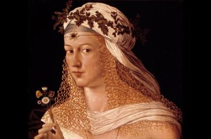 Portrait by Bartolomeo believed to be of Lucrezia Borgia.